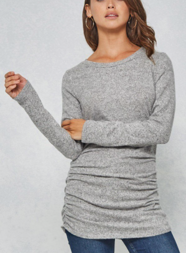 Ruched Side Long Sleeve