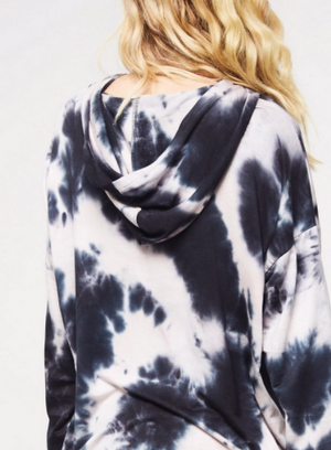French Terry Tie-Dye Hooded Tunic