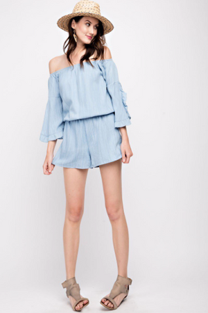 Denim Bell Sleeve Romper
