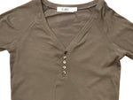 Button Down Ribbed Henley OLIVE