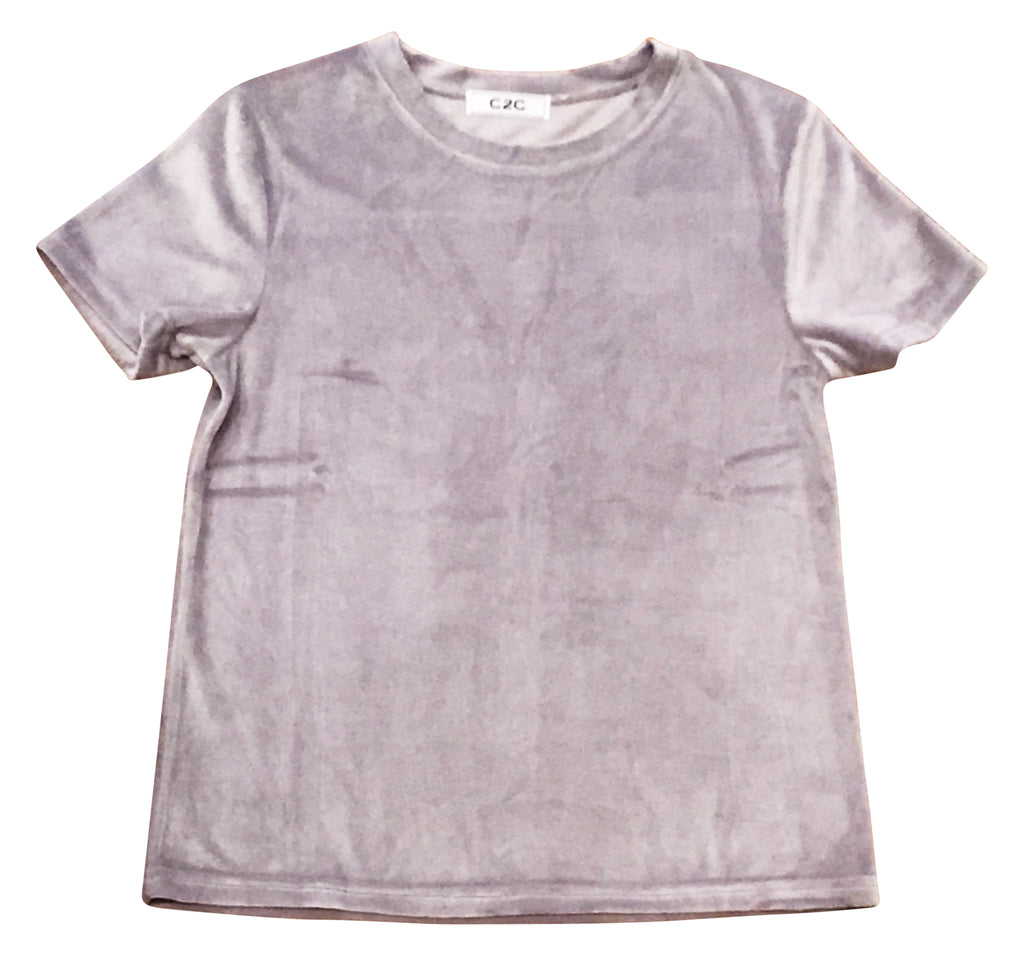 Soft Purple Velvet Short Sleeve