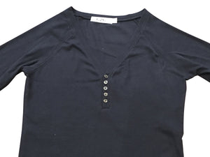 Button Down Ribbed Henley NAVY