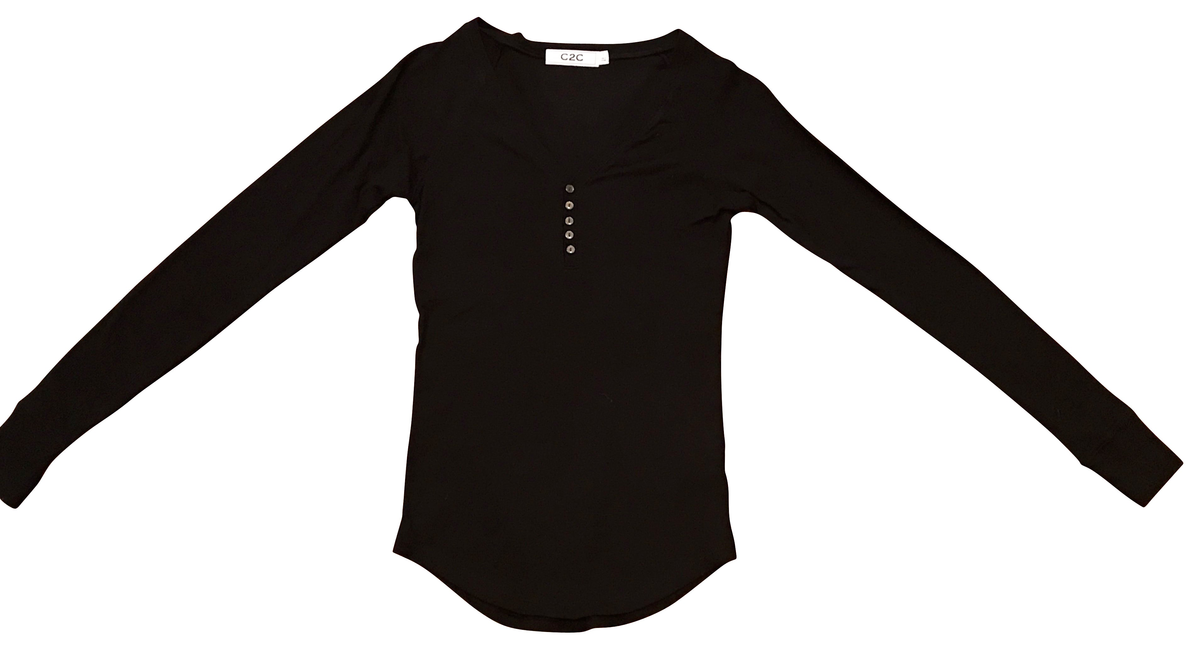 Button Down Ribbed Henley Black