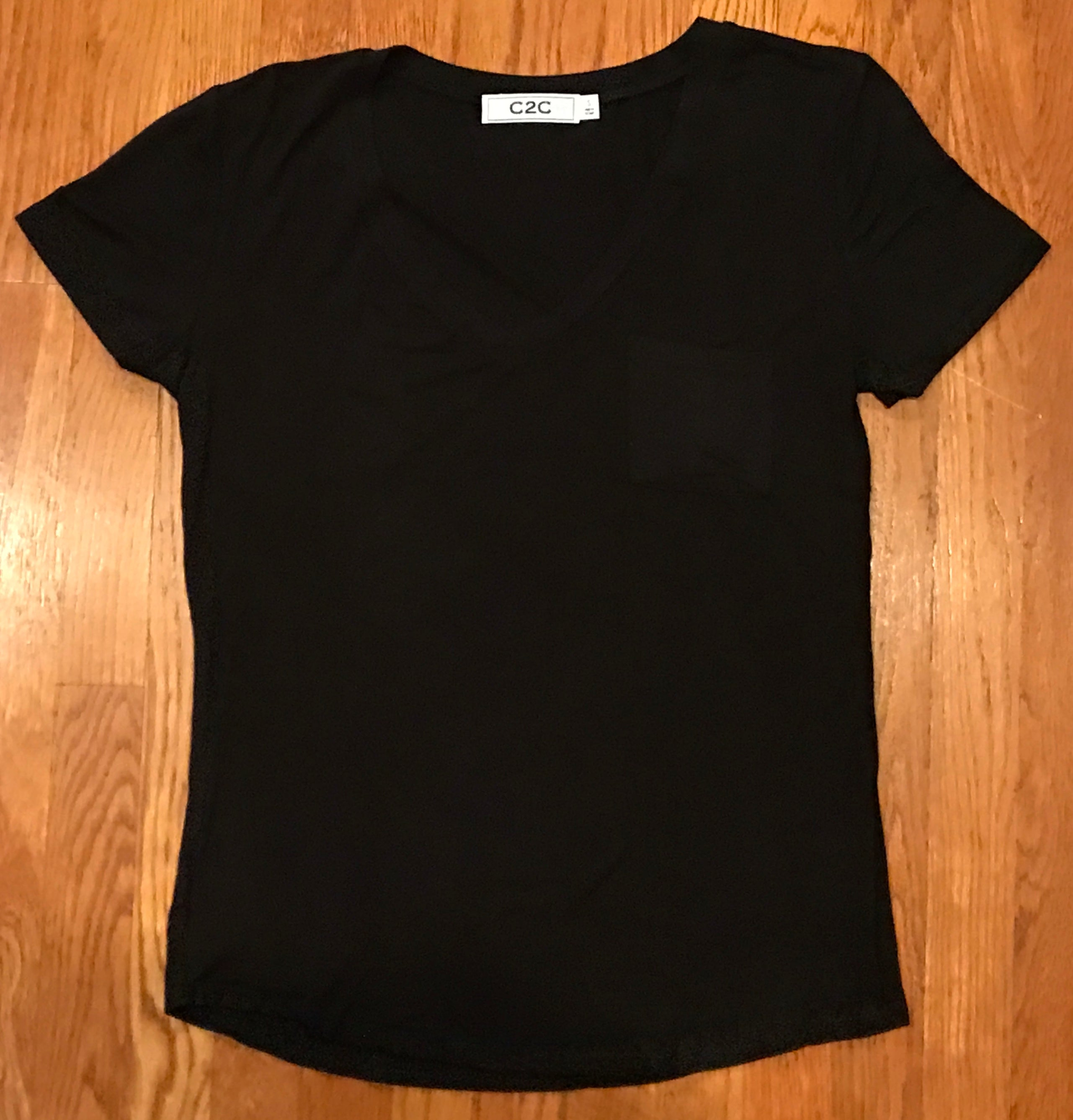 Basic Black V-neck Tee with Pocket