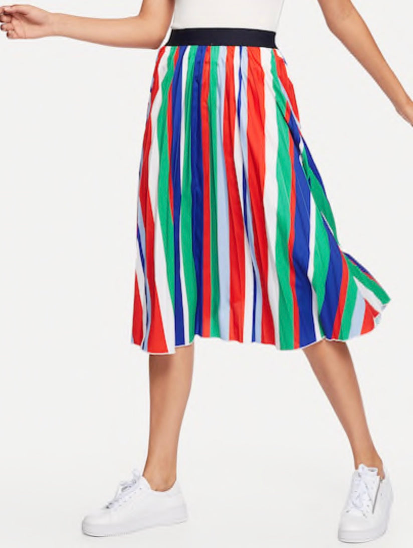 Multicolor Stripe Knee Length Skirt