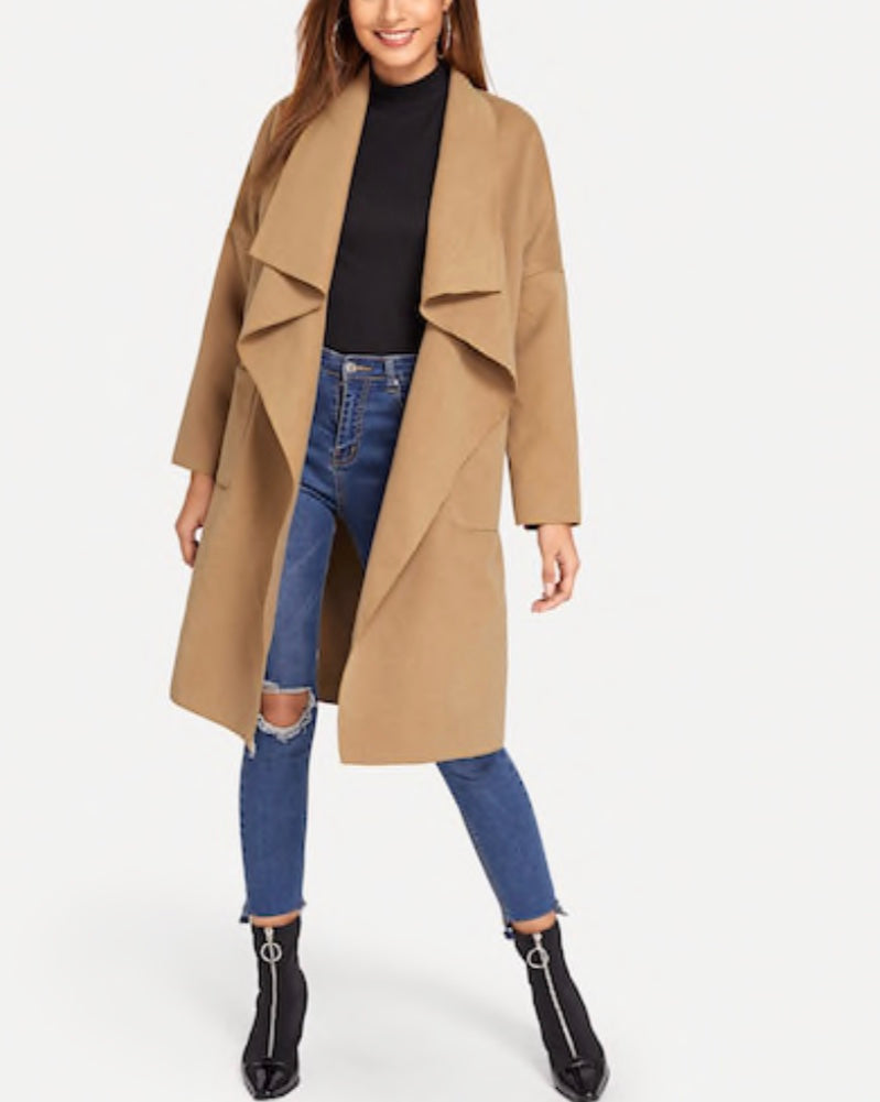 Waterfall Collar Wrap Tie Coat