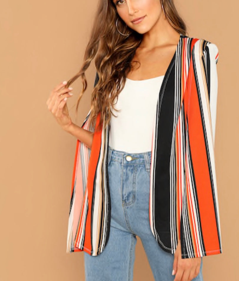 Multicolor Stripe Cape Coat