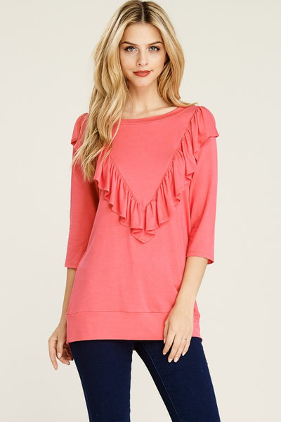 Coral 3/4 Sleeve Ruffle Top