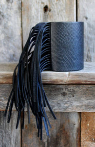 Black Leather Cuff with Fringe