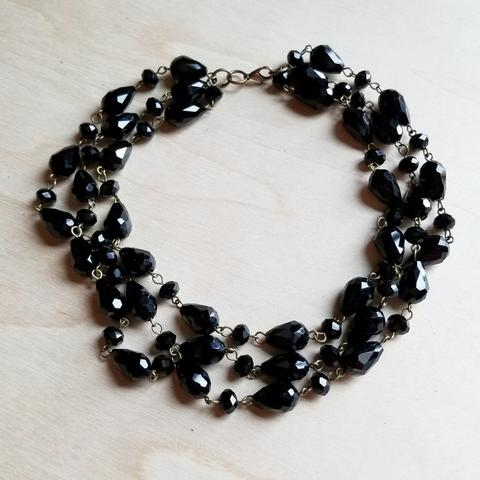 Black Faceted Triple Strand Necklace