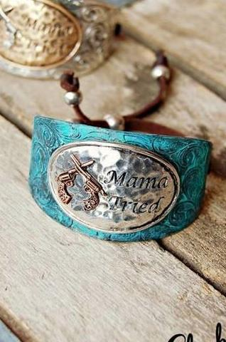 Mama Tried Patina Buckle Bracelet