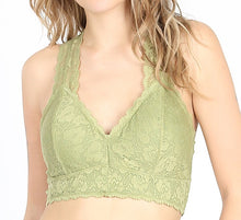 Load image into Gallery viewer, Razor Back Lace Bralette with Removable Padding (available in multiple colors)