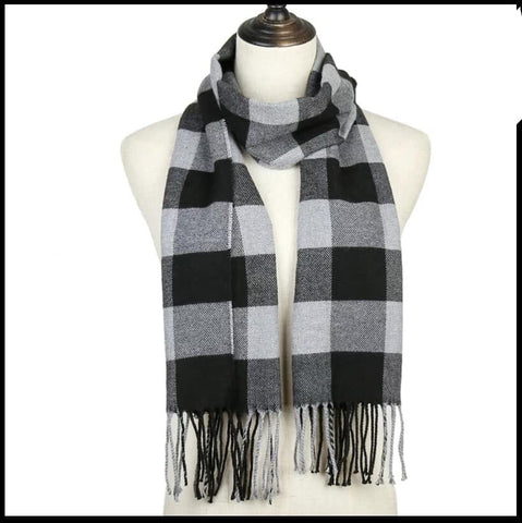 Black and White Check Scarf