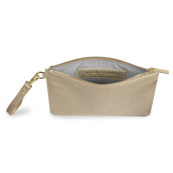 Secret Message Pouch-Prosecco Time in Metallic Gold