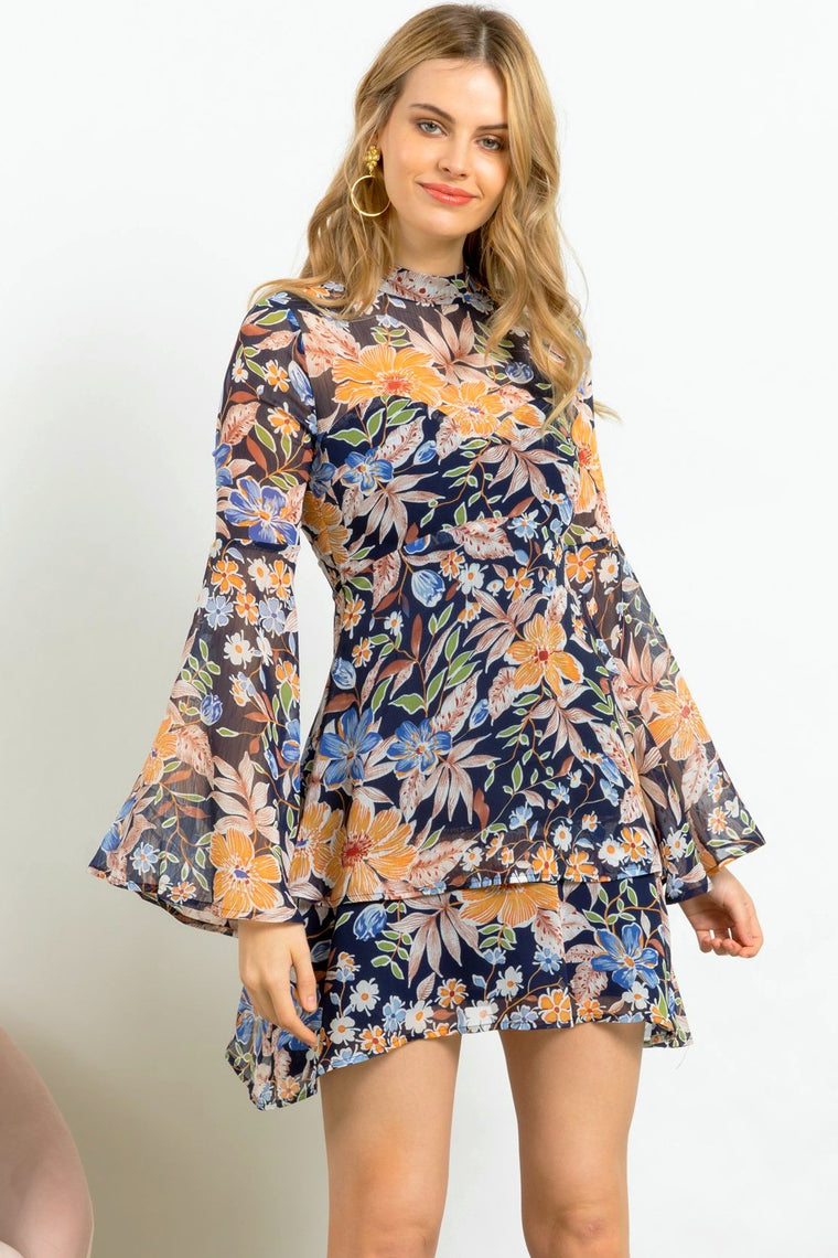 Blooms Floral Print Party Dress