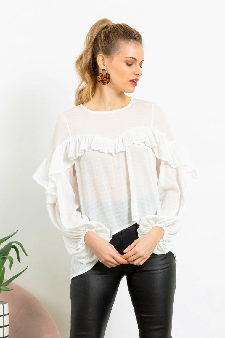 Daily Romance Frill White Top