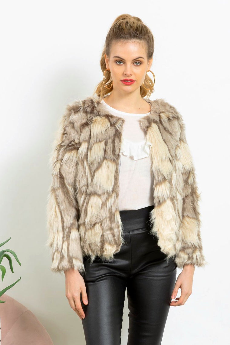 Cream Faux Fur jackets at Maia and Co online now