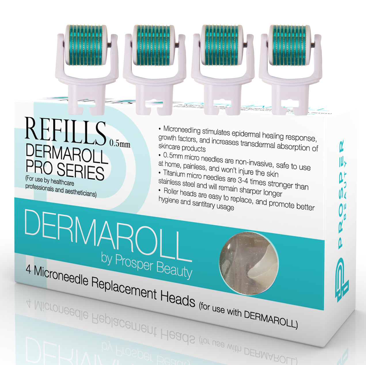 DERMAROLL REFILLS 0.5mm by Prosper Beauty (4 Microneedle Replacement Heads - 0.5mm)