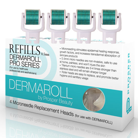 DERMAROLL REFILLS 0.5mm by Prosper Beauty (4 Microneedle Replacement Heads 0.5mm - NO HANDLE, ROLLER HEADS ONLY)