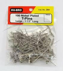 "DU BRO 100 LARGE T PINS 1 1/2"" LONG"