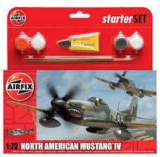 AIRFIX 1/72 P-51D MUSTANG IV STARTER SET (WITH PAINT & GLUE)