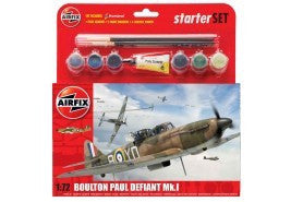 AIRFIX 1/72 BOULTON PAUL DEFIANT Mk.1 STARTER SET (WITH PAINT & GLUE)