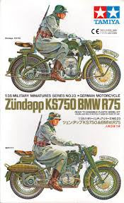 TAMIYA 1/35 ZUNDAPP KS750 & BMW R75 GERMAN MOTORCYCLES