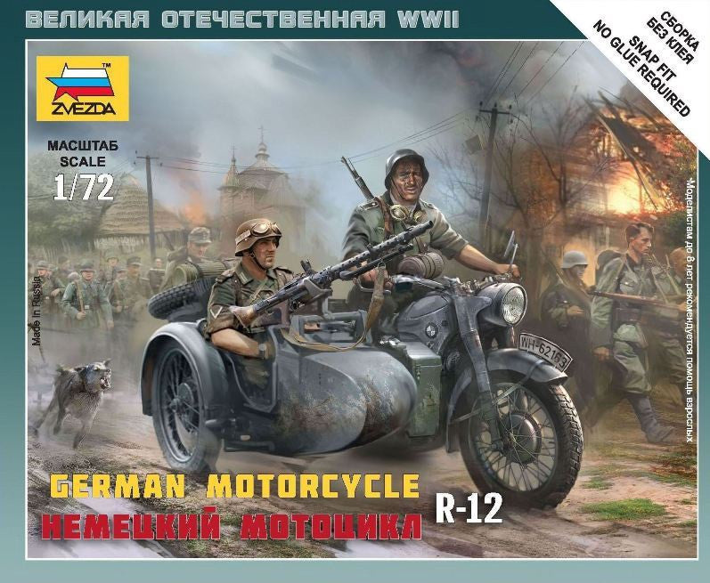 ZVEZDA 1/72 GERMAN R-12 HEAVY MOTORCYCLE