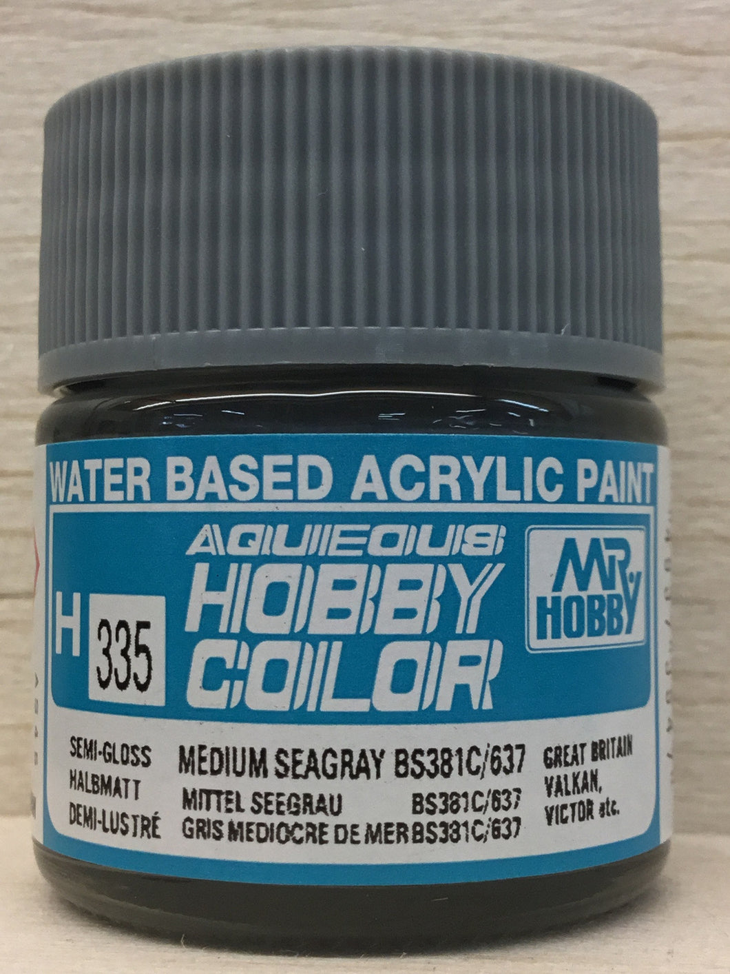 GUNZE MR HOBBY COLOR H335 SEMI GLOSS MEDIUM SEAGRAY BS381C/637
