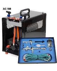 AC-188 Compressor with 2 Independent Airbrushes & Air Tank