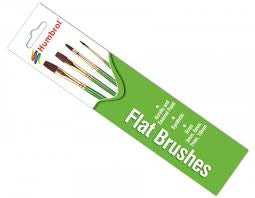 HUMBROL 3mm,5mm,7mm,10mm, FLAT SYNTHETIC BRUSHES (x4)