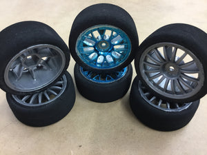 TAMIYA 1/10 R/C ON ROAD FOAM TYRE & WHEEL SET  (6) PCS