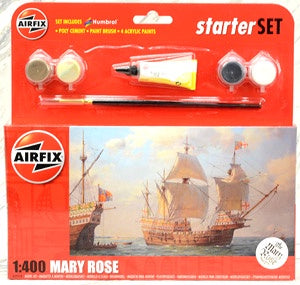 AIRFIX 1/400 MARY ROSE STARTER SET (WITH PAINT & GLUE)