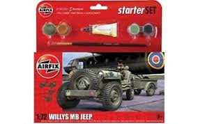 AIRFIX 1/72 WILLYS MB JEEP STARTER SET (WITH PAINT & GLUE)