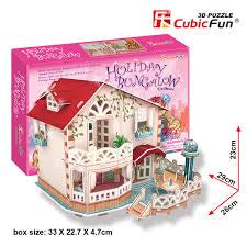 HOLIDAY BUNGALOW 3D JIGSAW DOLLSHOUSE WITH LED LIGHTS