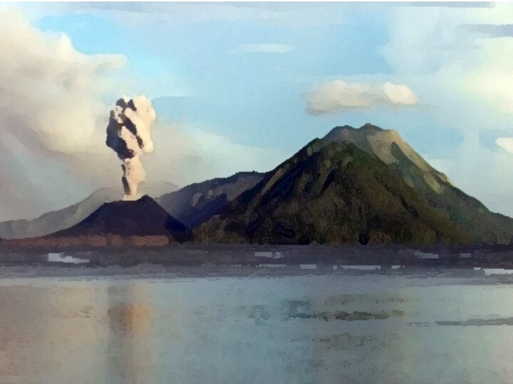 Watercolor image of a volcano eruption in Rabaul, Papua New Guinea