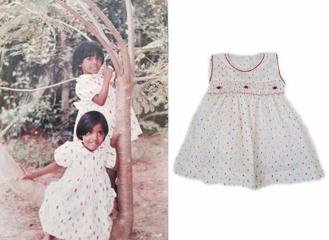a photo of the owners as children in ethically made smocked dresses juxtaposed against The Open Road's Leila dress, which is similar in style