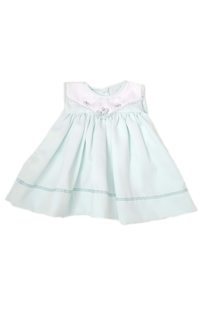 Pale mint green dress with hand-embroidered white collar and mint satin trim for a baby girl