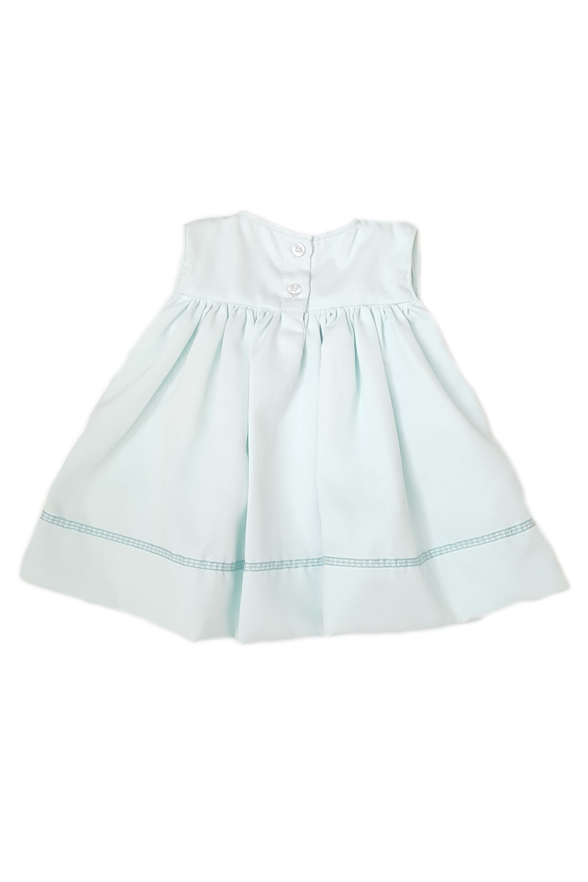 Back of pale mint green dress with hand-embroidered white collar and mint satin trim with button back and back opening for a baby girl