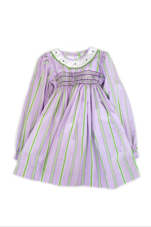 Front of whimsical long sleeve Amber dress in striped lavender and apple shades, with a delicate hand-smocked bodice for girls