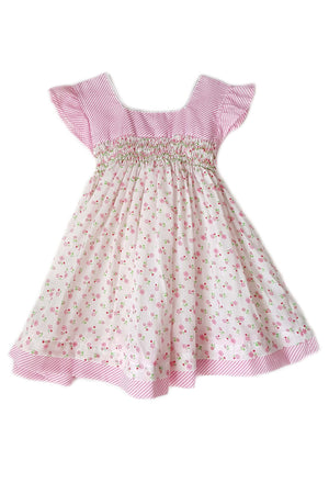 Pink-striped dress with  floral bodice and flutter sleeves.  Hand-smocked bodice for girls.
