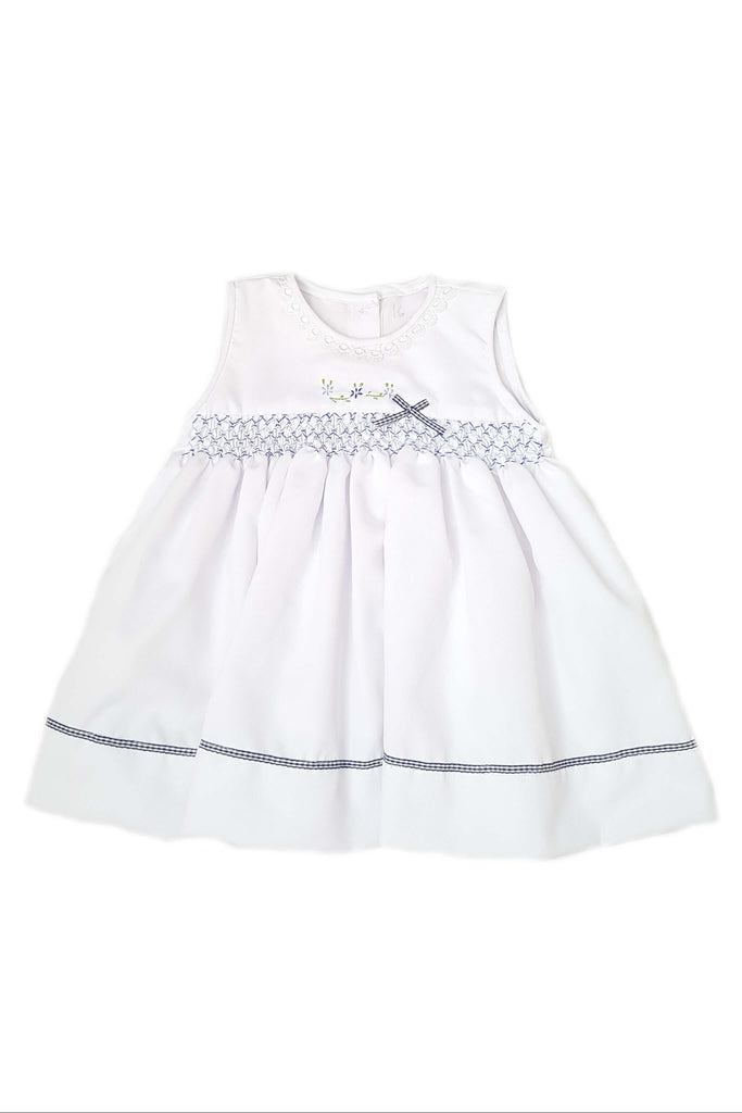 White dress with gingham bow and royal blue and azure blue smocked bodice for baby girls