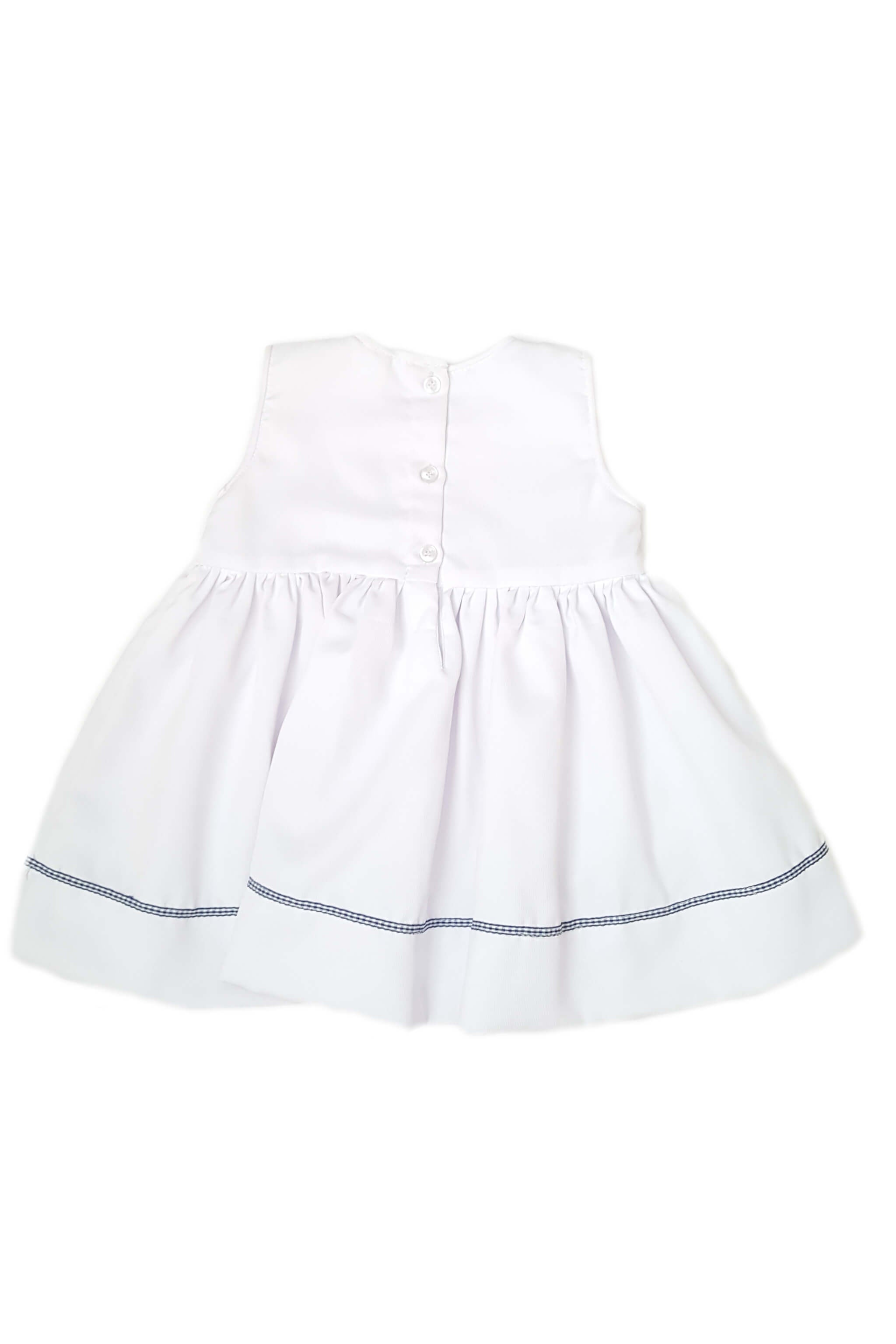 Back of white dress with gingham bow and royal blue and azure blue smocked bodice with button back opening for baby girls