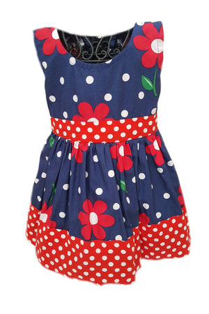 Navy blue with red floral print dress and red polka dot waist and hem for baby girls