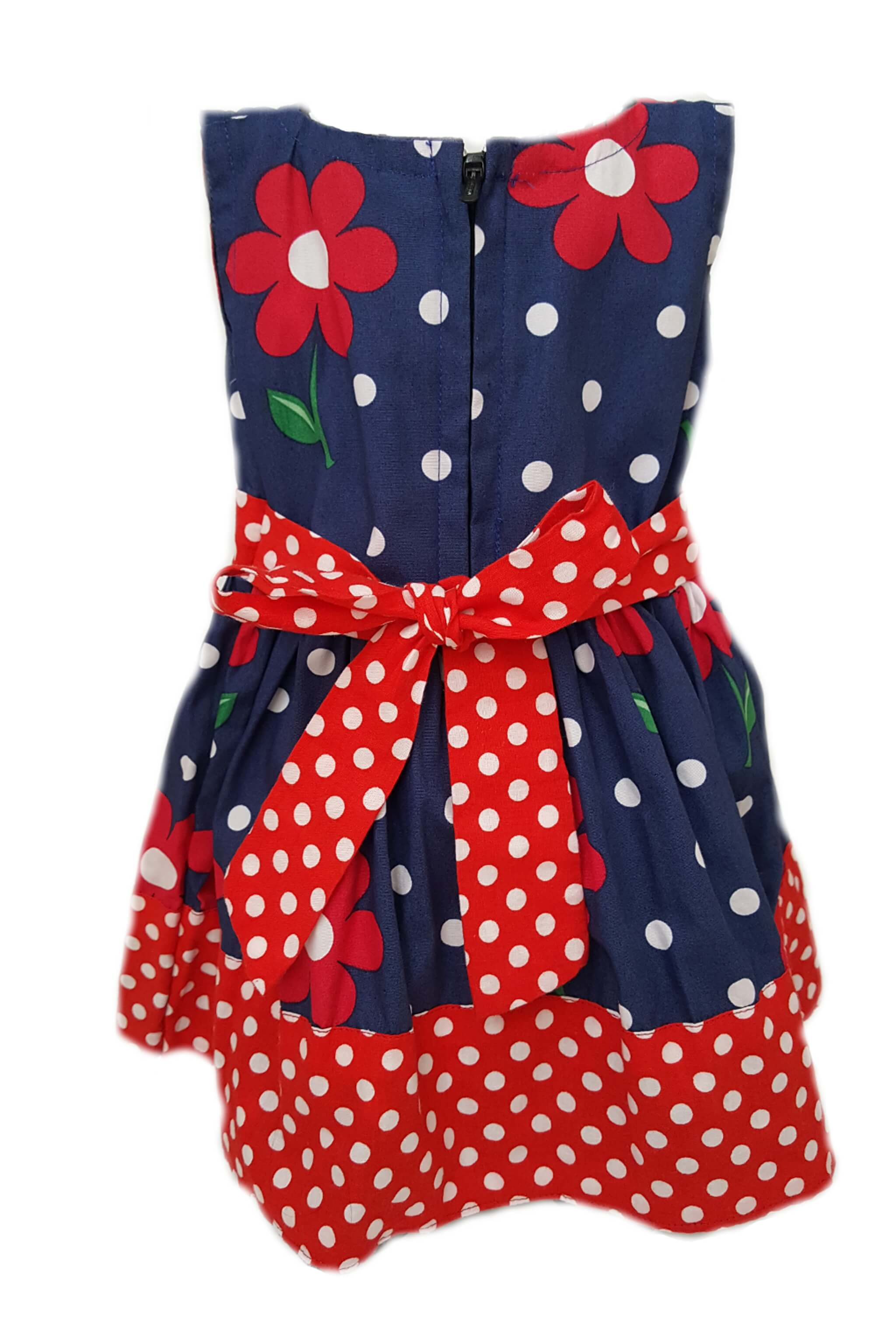 Back of navy blue with red floral print dress and red polka dot hem and sash to tie at waist for baby girls