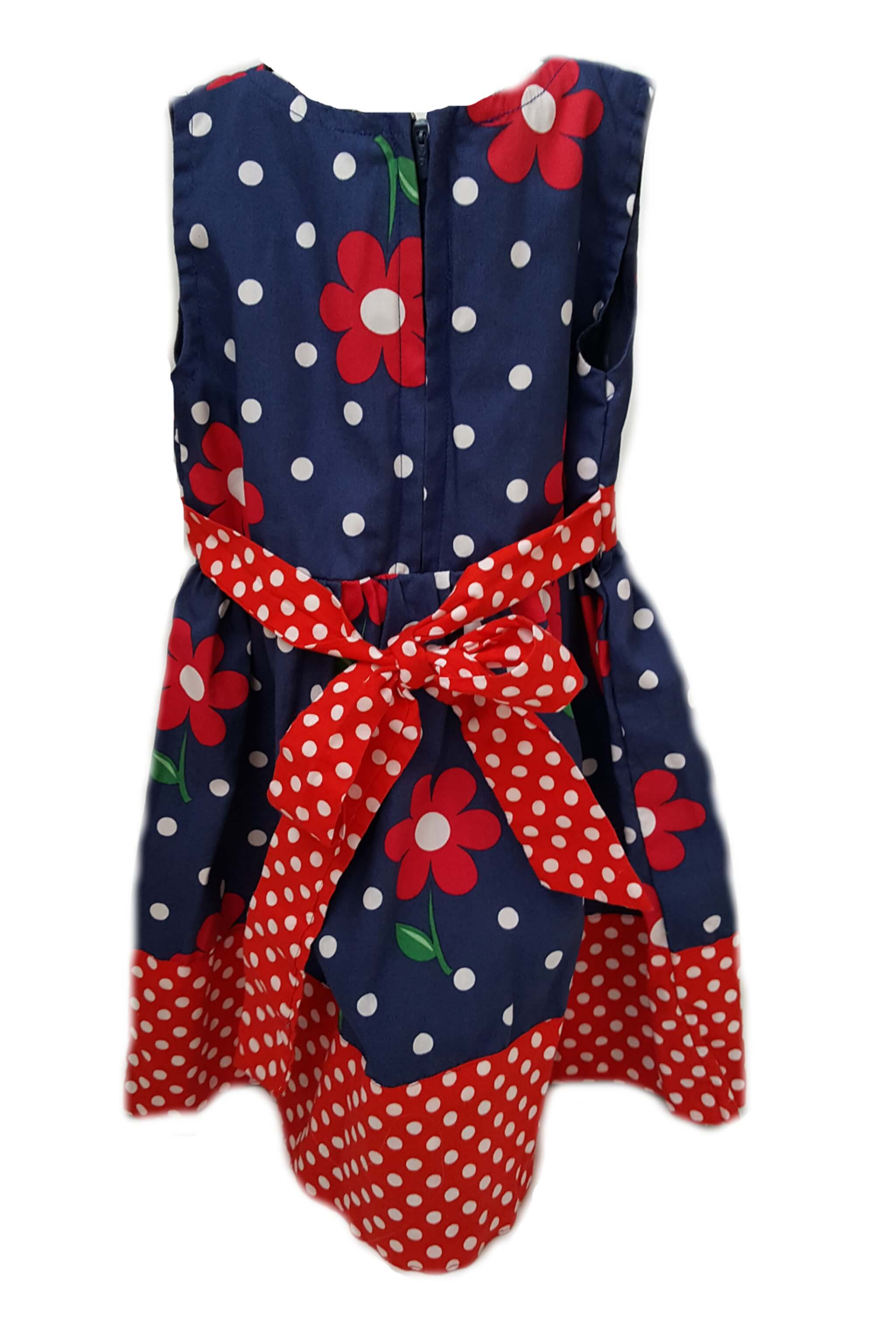 Back of navy blue with red floral print dress and red polka dot hem and sash to tie at waist for little girls