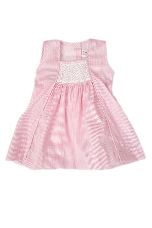 Pink-striped dress with square neckline and white bodice with smocking for baby girls