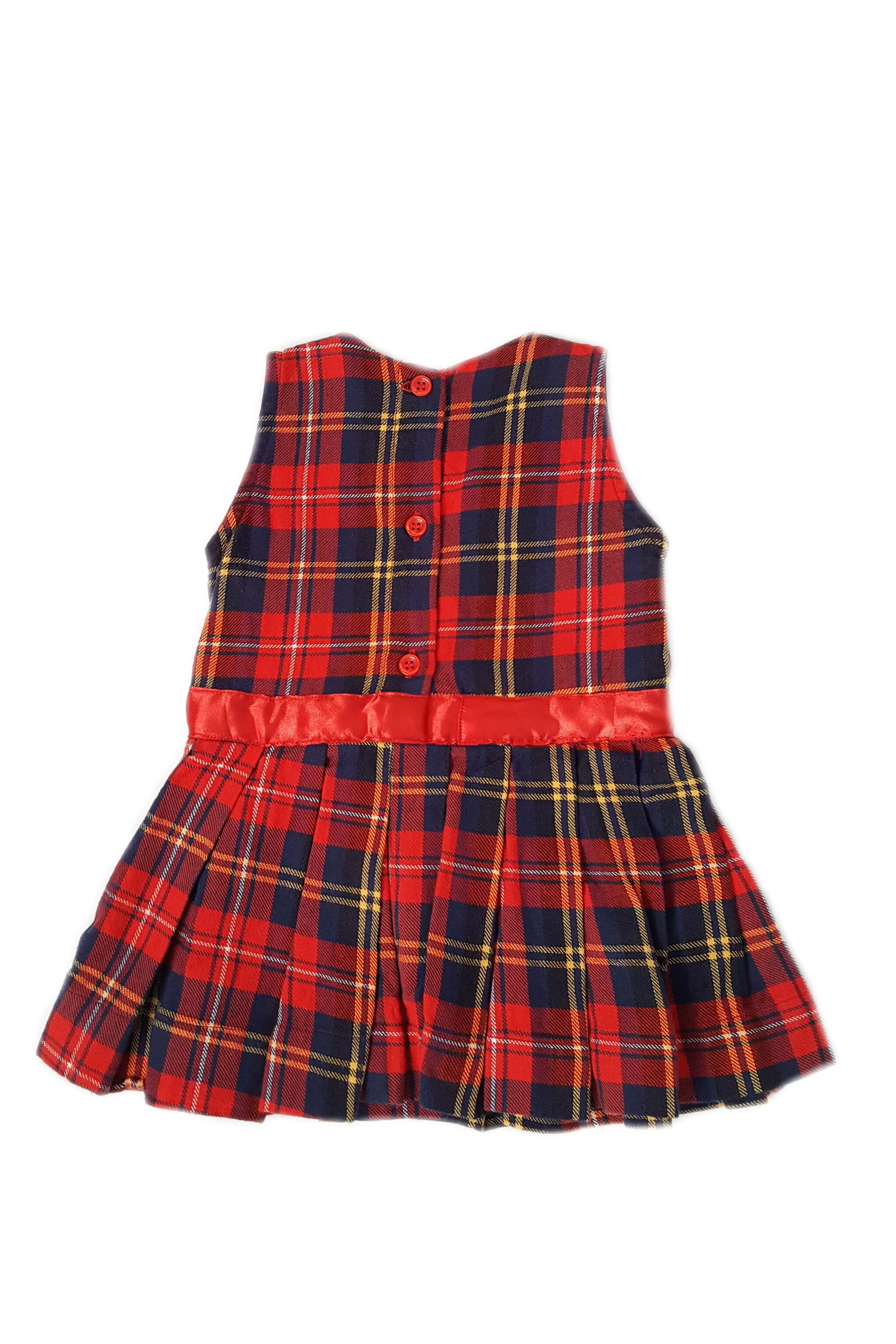 Back of vintage style tartan baby girl's sleeveless dress with box pleats and button back