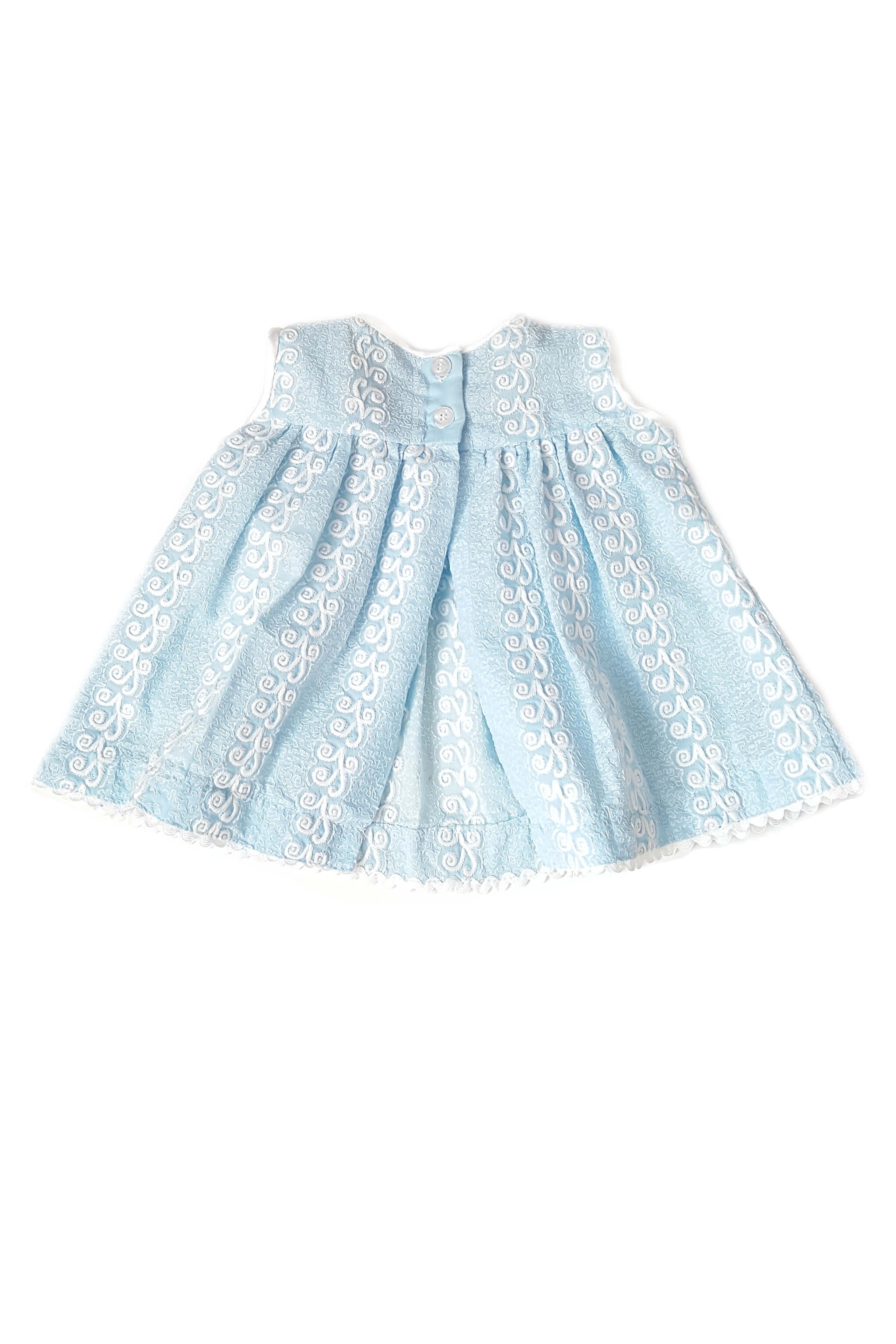 Back of dainty baby blue frock with delicate white embroidery, blush pink hand-embroidered flowers and eyelet trim with back opening for baby girls