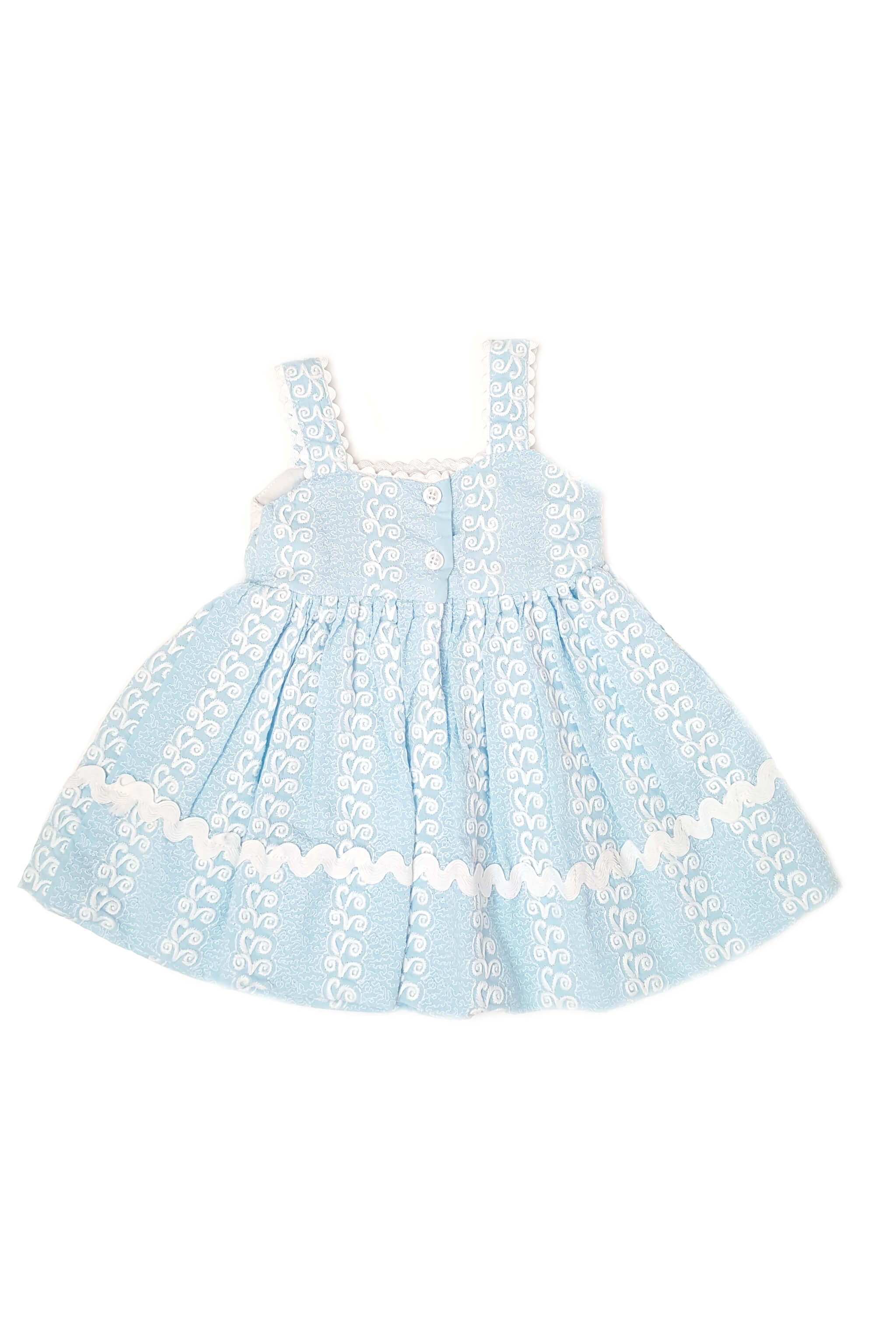 Back of dainty baby blue frock with delicate white embroidery, blush pink hand-embroidered flowers and eyelet trim with back opening for little girls